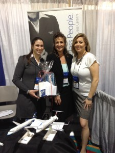 Marie Becker and Crystal Jorgenson at the SkyWest booth
