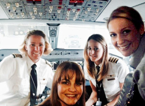 Jen Johnson with an all-female crew on a recent flight.
